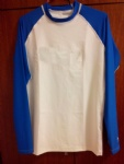 Customized Logo Blue and White Rash Guard for Swimming Surfing Diving